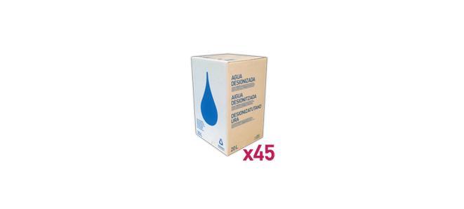 Agua_Destilada_Palet_45_Envase_Cartón_BagInBox_20L