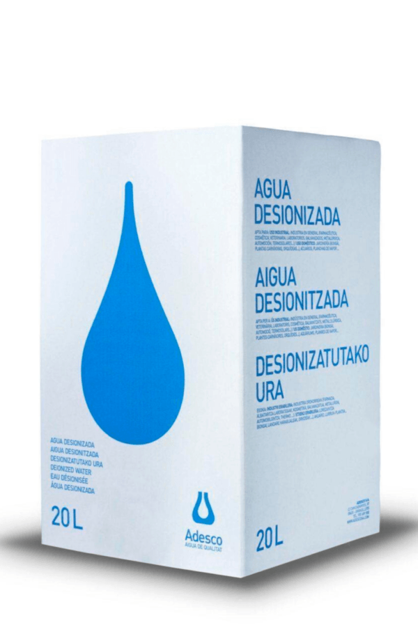 Agua Desionizada (Destilada) en Bag in box de 20 Litros