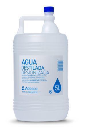 Agua Desionizada (Destilada) en Garrafa de 5 litros
